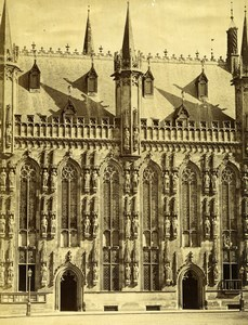 Belgium Bruges City Hall Architecture Old Photo 1890