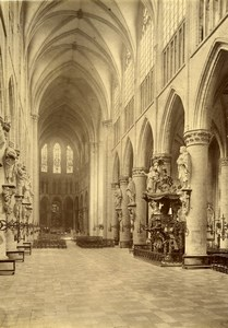 Belgium Brussels Cathedral Ste Gudula the Nave Old Photo 1890