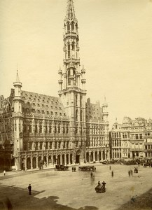 Belgium Brussels Grand' Place City Hall Architecture Old Photo 1890
