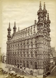 Belgium Louvain Leuven Town Hall Architecture Old Photo 1890