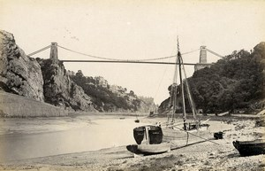 United Kingdom Glastonbury Abbey & Clifton Bridge Avon 2 Old Photos Frith 1870