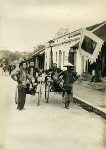 Vietnam French Tonkin Pulled Rickshaw Colonial Empire Old Photo 1890