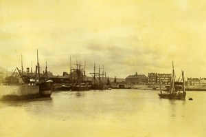 France Le Treport Harbour Panorama Fishing Boats two Old Photos 1890