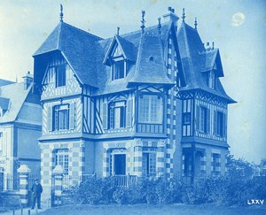 France Normandie Maison neuve a Colombages Ancienne Photo Cyanotype 1895
