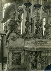 France Paris ? Detail Piece of Art Statue Church Religion Old Photo 1910