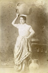 Portugal Azores Sao Miguel Types Woman Traditional Costume Old Photo Raposo 1890