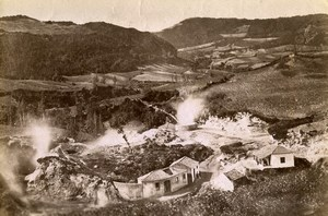 Portugal Azores Sao Miguel Furnas Volcano Crater Old Photo Raposo 1890