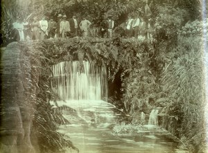 Portugal Azores Sao Miguel Furnas Group at Waterfall Old Photo Raposo 1890