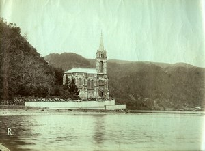 Portugal Azores Sao Miguel Furnas Church Lake Old Photo Raposo 1890