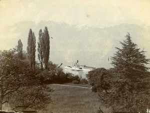 Switzerland Lake Geneva Paddle Steamer France Old Amateur Photo 1910