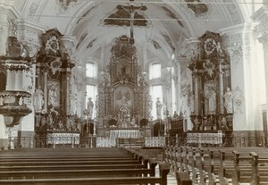 Alpine Church Interior Alps France Switzerland Italy Old Amateur Photo 1910