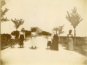 France Holidaymakers Promenade Belle Epoque Old Amateur Photo 1900