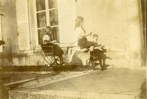 Daily Life in France Children with Horse Carriage Toy Old Amateur Photo 1900