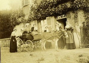 Daily Life in France Donkey Carriage Group Old Amateur Photo 1899