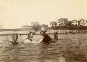 France Normandy? Sea Holidaymakers Swimming Old Amateur Photo 1900