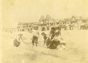 France Normandy? Holidaymakers Beach Games Old Amateur Photo 1900