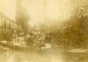 France Family Holiday Boat promenade Old Amateur Photo 1900