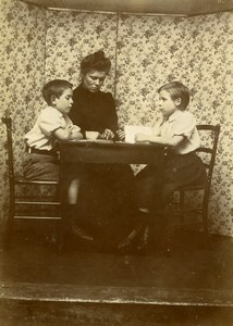 Daily Life in France Family Portrait Table Old Amateur Photo 1900