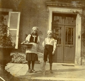Daily Life in France Young Children Fishermen Costume Old Amateur Photo 1900