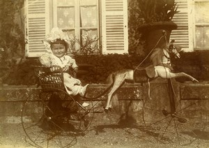 Daily Life in France Toddler Girl in Horse Cart Toy Old Amateur Photo 1900