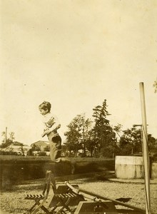 Daily Life in France Children Games Boy Jumping Old Amateur Photo 1900