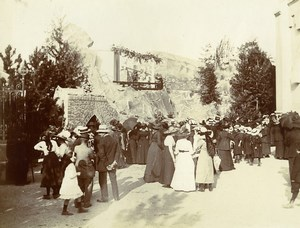 Daily Life in France Crowd at Outdoor Theater Show ? Old Amateur Photo 1900