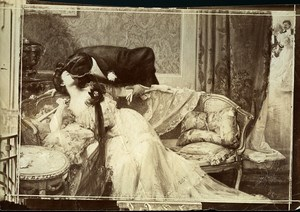 France Painting Couple Kissing Old Photo 1900