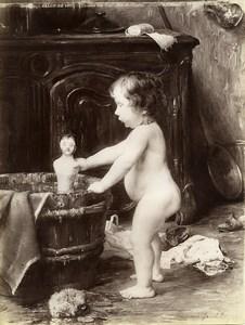France Arts Salon de 1897 Le Bain Chacun son tour par Barthallot ancienne Photo 1900