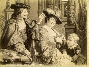 France Painting Rembrandt & Saskia by Brunin Old Photo 1900