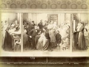 France Painting La Goutte de Lait à Belleville par Jean Geoffroy Old Photo 1900