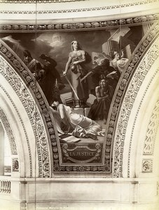 France Mural Painting at the Pantheon Justice Old Photo 1900