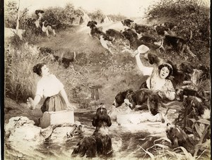 France Painting Fair 1897 Dogs Bien Aller by Alphonse Gaudefroy Old Photo 1900