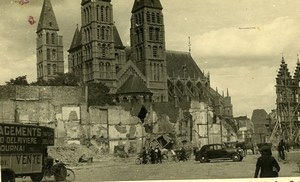 Belgium Tournai Destruction WWII Liberation Cathedral Old Photo 1945