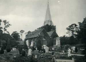United Kingdom Stoke Poges Church near Windsor Graves Old Photo Print 1900
