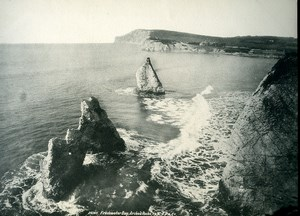 Isle of Wight Freshwater Bay Arched Rocks Old Photo Print Frith 1900