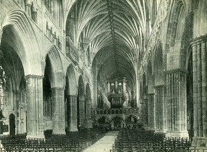 United Kingdom Exeter Cathedral Nave East Old Photo Print Frith 1900
