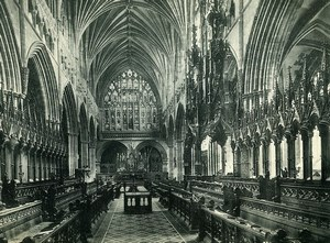 United Kingdom Exeter Cathedral Choir East Old Photo Print Frith 1900