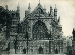 United Kingdom Exeter Cathedral façade Old Photo Print 1900