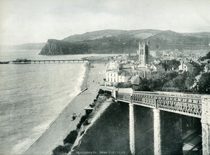 United Kingdom Teignmouth from East Cliff Old Photo Print 1900