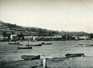 Royaume Uni Teignmouth panorama Barques Mer ancienne Phototypie 1900