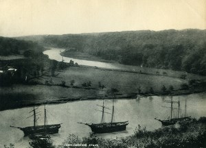 Royaume Uni Cornouailles Calstock Panorama Riviere Voiliers ancienne Phototypie Frith 1900