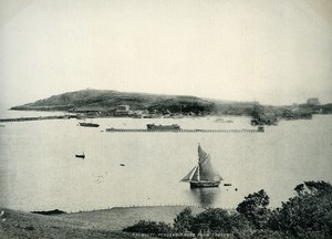 Cornwall Falmouth Pendennis Head Sailboat Old Photo Print Frith 1900