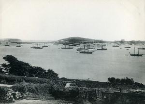 United Kingdom Cornwall Falmouth Panorama Sea and Sailboats Old Photo Print 1900