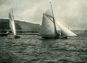 United Kingdom Cornwall Falmouth Harbour Sea and Sailboats Old Photo Print 1900