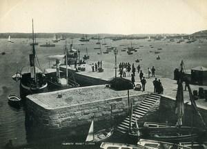 United Kingdom Cornwall Falmouth Market Strand Harbour Boat Old Photo Print 1900