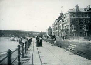 Cornwall Penzance Mount's Bay Queen's Hotel Promenade Old Photo Print Frith 1900