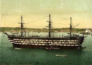 United Kingdom Plymouth HMS Impregnable Howe Old Photo Photochrom 1900