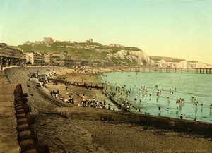 United Kingdom Kent Dover Sea Front Beach Cliffs Old Photo Photochrom 1900