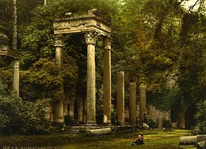 Royaume Uni Virginia Water Ruines Colonnes ancienne Photo Photochrom 1900