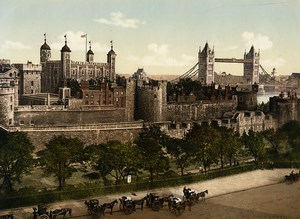 United Kingdom London the Tower Bridge Tower of London Old Photo Photochrom 1900